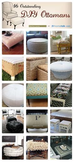 Throw your feet up!  Here are 16 DIY ottomans!