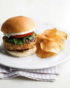 Chicken burgers - hamburger buns, ground dark-meat chicken, onion, yellow or orange bell pepper, celery stalk, lettuce, tomato, and mayonnaise