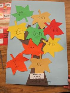 Love of Kindergarten: Fall Sight Word Trees - Fall fun with teaching your child. Helps fine and gross motor skills as well as the child writes the words on the colorful leaves. Good for learning colors, sight words, and counting Kindergarten Language Arts, Literacy Activities, Kindergarten Activities, Literacy Centers, Kindergarten Writing, Halloween Crafts Kindergarten, Abc Centers, Writing Centers, Fall Preschool