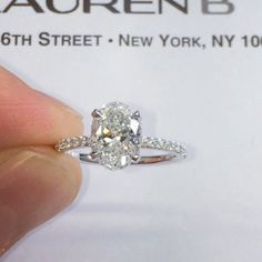Our RS-217 design with signature wrap and delicate #micropave band made for a 1.70 carat #ovaldiamond center. This special carat weight range of 1.70 to 1.85 is becoming increasingly popular amongst our clients for the value it provides. Our team can pr