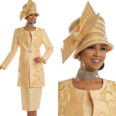 """Donna Vinci 11536 Colors: Yellow Jacket Length: 37"""" Skirt Length: 31"""" Sizes: 12, 14, 16, 18, 20, 22, 24, 26 Matching Hat Donna Vinci 11536H http://www.divasdenfashion.com/Donna-Vinci-11536-p/don-11536.htm #DivasDenFashion #DonnaVinci #Spring #Yellow"""