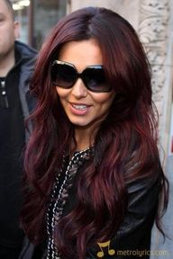 Cheryl Cole, dark red hair style-nails-more-shimmer-stuff