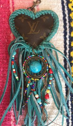 Authenic Louis Vuitton upcycled turquoise fringed heart dream