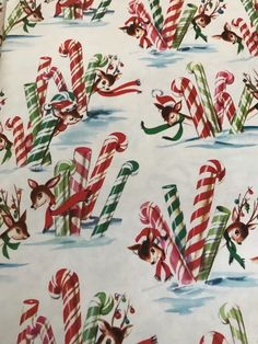 "VINTAGE 1950'S CHRISTMAS WRAPPING PAPER (2) SHEETS 19"" X 25 3/4"" DEER CANDY CANE 