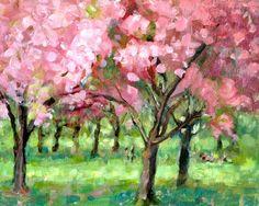 acrylic plein air landscape painting, Lillian Kennedy, Brooklyn Botanic Garden