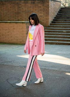 pink suit, ganni, ganni suit, track pants, stripe pants, white boots, white shoes, banana shirt, randa salloum