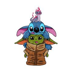 Disney Drawings, Cartoon Drawings, Cute Drawings, Cute Disney Wallpaper, Cute Cartoon Wallpapers, Yoda Drawing, Toothless And Stitch, Baby Disney Characters, Stitch Drawing