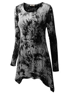 DJT Womens All Over Tie Dye Long Sleeve Asymmetrical Hem Tunic Large Black * Click on the image for additional details.Note:It is affiliate link to Amazon.