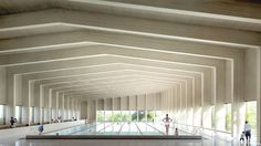 Swimming Pool by Hawkins\Brown: A cross-laminated timber roof covers this six-lane swimming pool