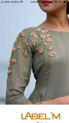 Discover thousands of images about Best 11 Embroidery designs – SkillOfKing. Embroidery Suits Punjabi, Embroidery On Kurtis, Kurti Embroidery Design, Hand Embroidery Dress, Embroidery Neck Designs, Embroidery On Clothes, Embroidery Fashion, Kurti Sleeves Design, Kurta Neck Design