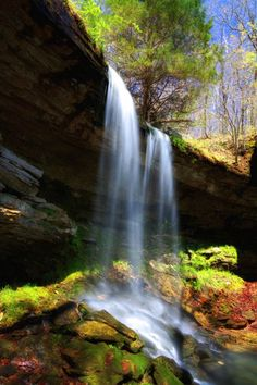 Treasure-Falls-unnamed-waterfall-near-Kings-River-Falls-Venus-Arkansas-white-green-trees-big-drop-cliff-rock-beautiful-AK-USA-United-States-Of-America-travel-tourist-sightseeing-walk-woods-park travel USA Beautiful World, Beautiful Places, Beautiful Pictures, Arkansas Waterfalls, River I, East Of Eden, Natural Wonders, Bellisima, The Great Outdoors