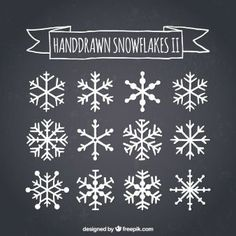 Hand drawn snowflakes on blackboard