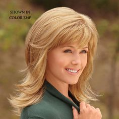 Wish i had enough hair to do this!! WhisperLite® fiber gives these sleek, straight strands of this wig, a natural look and feel like fine, baby-soft hair. #paulayoung #hair #wig