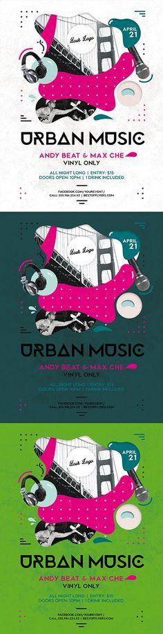 Urban Music Poster by Bestofflyers on Behance Urban Music, Free Flyer Templates, Adobe Photoshop, Flyers, Adobe Illustrator, Behance, Graphic Design, Poster, Ruffles