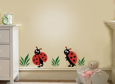 Two Lady Bug ,Ladybugs Vinyl Decal ,Children Wall Decals for Nursery and Girls R. Two Lady Bug ,La Ladybug Room, Ladybug Nursery, Ladybug Girl, Kids Wall Decals, Nursery Wall Decals, Vinyl Decals, Church Nursery Decor, Baby Girl Nursery Themes, Nursery Ideas