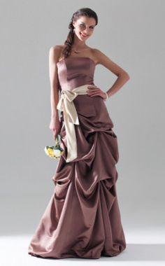 A-line Strapless  Floor-length Sleeveless Satin Prom Dress