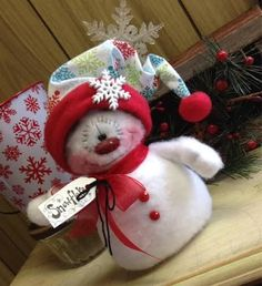 "Primitive Raggedy Christmas Snowman Doll Winter Snow Shelf Sitter 6.5"" #Unbranded #Christmas"