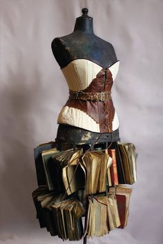 """Oprah's Corset-Maker Tries Her Hand at History - The Cut """"Jane McManus Cazneau (April 6, 1807-December 12, 1878) Cotton and leather corset, cane boned with trapunto and coffee dyed books"""