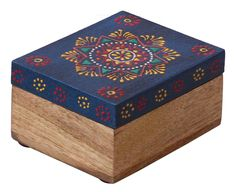 Bulk Wholesale Handmade Wooden Rectangular Jewelry Box in Royal-Blue & Natural-Wood Color with Old-World Cone-Painting Art in Traditional-Look Motifs – Ethnic-Look Boxes from India jewelry box Intarsia Woodworking, Woodworking Box, Woodworking Projects, Woodworking Classes, Woodworking Furniture, Woodworking Beginner, Furniture Cleaning, Woodworking Equipment, Furniture Removal