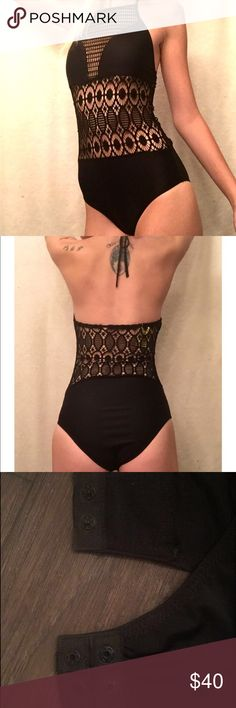 🎃Sexy Black Bodysuit NWOT. Crotchet design Only wore to try on. Has snap closures as seen in third pic. Ties around neck. Can be worn as onesie or as bathing suit. Bought online and received wrong size so my loss is your gain!tagged for views brand unknown PINK Victoria's Secret Swim One Pieces