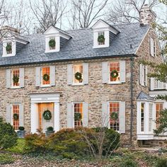 My client's beautiful stone house decorated for Christmas! This home, furnished with many pieces from my shop, was decorated by my good friend Frank Randolph. This photo is from a featured story in Traditional Home magazine. See more by searching: Tone on Tone blog - a light and airy Christmas