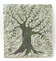 hand carved ceramic art tile tree of life by crowfoot studio. Various types of surface cover tile project? Ceramic Painting, Ceramic Art, Art Installation, Tree Of Life Artwork, Linoleum Block Printing, Pottery Sculpture, Pen And Watercolor, Sgraffito, Decorative Tile