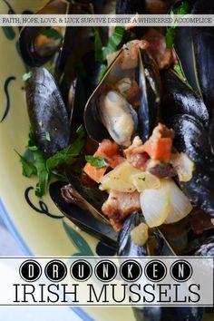 Drunken Irish Mussels - These boozy Irish whiskey mussels are inexpensive, easy to trash up with goodies, and extremely quick to make. Just add bread or some pasta and you've got a meal fit for a queen, king, or even an annoying little leprechaun who has no intention of sharing his pot o' gold. Sea Weed Recipes, Great Recipes, Pizza Flavors, Pizza Recipes, Irish Whiskey, Scotch Whiskey, Home Brewing Beer, Mussels, Queen