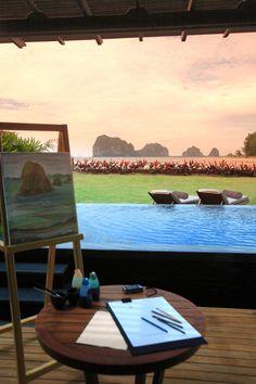 Painting By The Pool, Anantara Si Kao Resort & Spa, Si Kao, South of Krabi, Thailand.