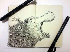 MOLESKINE DOODLES: River Horse by kerbyrosanes on deviantART