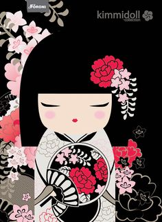 "✿ Kimmidoll Illustration ~ ""Miho"" 'Artistic' ✿ ""My spirit creates and innovates… Momiji Doll, Kokeshi Dolls, Matryoshka Doll, Kokeshi Tattoo, Fan Anime, Art Asiatique, Art Japonais, Maneki Neko, Thinking Day"