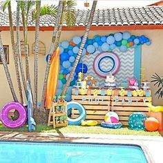 Pool Party Themes, Pool Party Kids, Pool Party Decorations, Ocean Party, Water Party, Shark Party, Teen Pool Parties, Baby Boy 1st Birthday Party, Birthday Party Themes