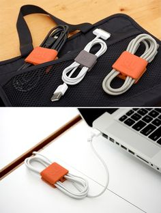 Cable Clip  Tame the cable chaos with these handy little doodads. They hold cables together to keep you from tripping over them and ripping your laptop off the desk. They come in three sizes and are made of some rubbery stuff in a design that lets you unravel the cable one loop at a time or all at once. Keep buying stuff like this & someday you might actually be organized.