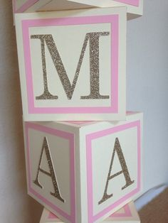 Name blocks for my baby shower my own crafts inspired by close up of how blocks are made for baby shower centerpiece alphabet block centerpiece negle Images