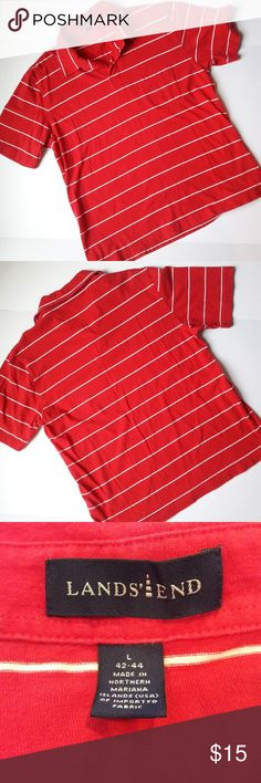{Mens} Lands' End striped polo In perfect condition! Very nice red and white striped Polo shirt. Short sleeve. Pocket on chest. True to size. Length measurement provided in pic above. From a smoke and pet free home. Fast shipping! Bundle and save even more. Lands' End Shirts Polos