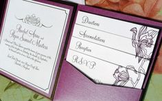 Love the following pattern on the inserts!!   Purple Punch Orchid Pocketfold Wedding by PinkOrchidInvites, $7.00