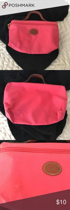 You can get this free!!  LongChamp makeup bag Used makeup bag. Approx 9x5.5 inches. There are marks inside and a few on the outside. Bubbling in front as well. Please see pics.  Free with purchase of $25 or more upon request. Please either let me know and I can include it or make a bundle and click the offer button for $10 less than the total. Thanks! Longchamp Bags Cosmetic Bags & Cases