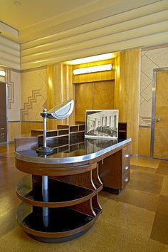 The secretary's desk.  Executive offices inside Union Terminal. Art Deco design. (hva)