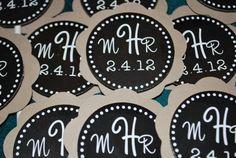 Monogram Wedding Cupcake Toppers