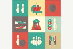 Illustration about Vector vintage bowling icons. This is file of format. Illustration of poster, recreation, strike - 33119738 Flat Design Icons, Icon Design, Flat Icons, Graph Design, Vector Design, Bowling, Little Mac, Professional Business Cards, Free Vector Art