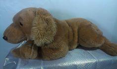 "HUGE 24"" Lying Animal Alley Retriever Puppy Dog Stuffed Floppy Beanie Plush  #x"