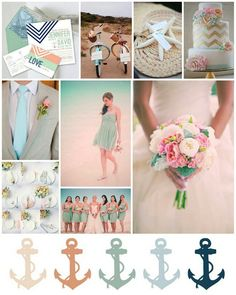 Nautical coral & Tiffany wedding