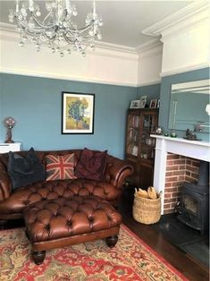 An inspirational image from Farrow and Ball – Oval Room Blue again – perhaps a little too blue…… – Home Decor Ideas – Interior design tips Room Wall Colors, Paint Colors For Living Room, New Living Room, Living Room Sofa, Chesterfield Living Room, Wall Colours, Cozy Living, Dining Rooms, Oval Room Blue