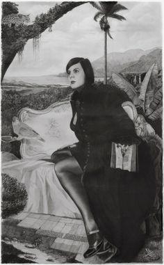 "francisco faria, ""a leitora de thevet"" (the thevet reader), 2012, drawing, pencil on paper, 185 x 115 cm."