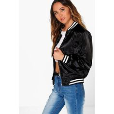 Boohoo Lois Silky Varsity Bomber Jacket ($52) ❤ liked on Polyvore featuring outerwear, jackets, black, puffer jacket, puffy jacket, varsity jacket, college jacket and puffa jacket
