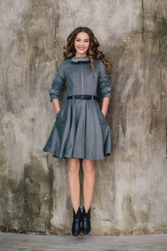 Dasha Gauser grey coat-dress with a zipper. Material: Silk and wool. Black Dress Coat, Coat Dress, Designer Coats, Street Chic, High Neck Dress, Zipper, Wool, Silk, Stylish