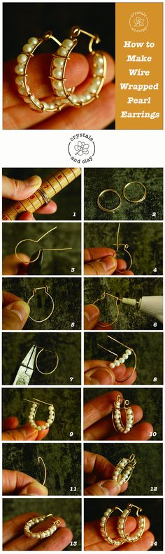 This jewelry DIY tutorial shows you step-by-step how to make wire wrapped hoop earrings with fresh water pearls. You will learn how to create the earring frame, how to attach the beads to the earrings and how to secure the hoop earrings. Diy Jewelry Rings, Diy Jewelry Unique, Diy Jewelry To Sell, Diy Jewelry Holder, Diy Jewelry Tutorials, Diy Jewelry Making, Clay Jewelry, Jewlery, Wire Wrapped Earrings