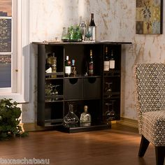 Black Folding Fold Away Bar Liquor Cabinet Home Kitchen Furniture Sei Hz1021r