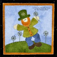 This March Leprechaun by The Wooden Bear at KayeWood.com is in search of his lucky four-leaf clovers. Wool applique is the technique here, be sure to get yours!. http://www.kayewood.com/item/March_Leprechaun_Pattern/3117 $6.50
