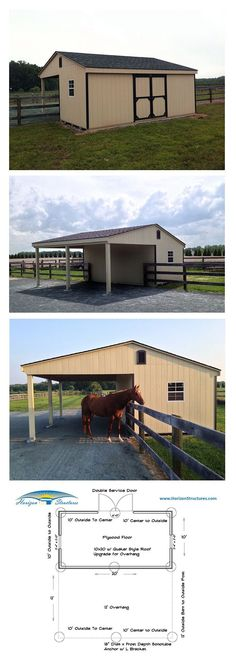 """shed with a twist"" – storage shed with a overhang on the back to provide a shady spot for their horse. ""shed with a twist"" – storage shed with a overhang on the back to provide a shady spot for their horse. Dream Stables, Dream Barn, Horse Stables, Horse Farms, Horse Shed, Horse Barn Plans, Horse Fencing, Paddock Trail, Horse Shelter"