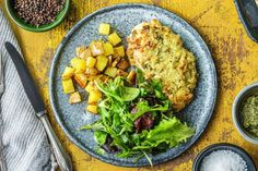 Presto Pesto Panko Chicken with a Green Salad and Roasted Potatoes – Hello Fresh Hall of Fame recipe